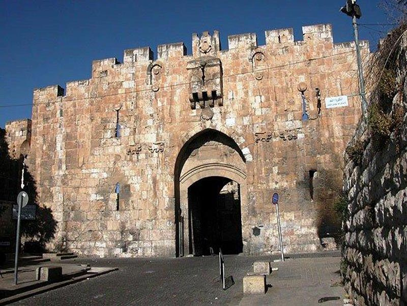 The Lions' Gate is located in the Old City Walls of Jerusalem, Israel and is one of seven open Gates in Jerusalem's Old City Walls. Located in the Eastern Wall, the entrance marks the beginning of the traditional Christian observance of the last walk of Jesus from prison to crucifixion, the Via Dolorosa.